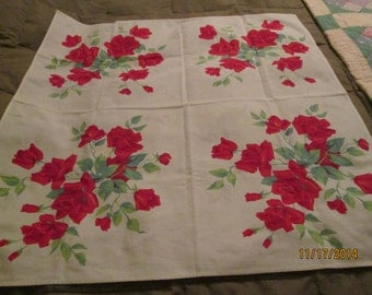 Vintage Wilendur Red Rose Table Cloth. American Beauty Table Cloth, Card Table Cloth, Table Cover