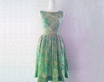 1950s Green Floral Silk Fit and Flare Dress 50s Vintage Yellow Full Skirt Shelf Bust Small New Look Bombshell Summer Garden Party Dress