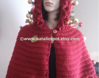 INSTANT DOWNLOAD Berry Picot Seasonal Cape Hooded - Unic Size - Crochet Pattern