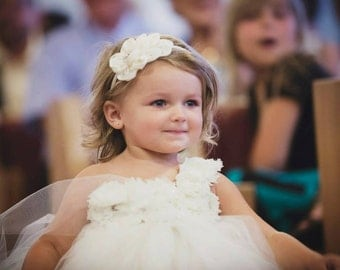 Simply Ivory Couture Flower Girl Tutu Dress/ Shabby Chic Wedding
