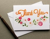 Watercolor Hand Illustrated Floral Thank You Card (Single Greeting Card)