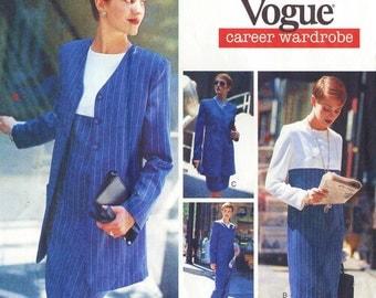 90s Womens Jacket Empire Waist Dress Top Skirt, Pants & Scarf Vogue Sewing Pattern 1533 Size 12 14 16 Bust 34 36 38 FF Vogue Career Wardrobe