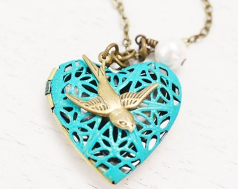 heart locket necklace, bridesmaid necklace, bff friend jewelry, matching couple necklaces, patina locket, bird locket jewelry, christmas