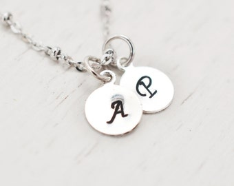 Personalized monogram necklace, bridesmaid gifts, family necklace, initial charm, engraved necklace, child name, initial pendant, friendship
