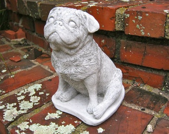 Pug Statue Concrete Cement Dog Figure, Cast Stone Pugs For Home Or Garden, Pet Memorial