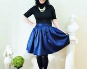 Navy Satin full gathered skirt custom made also in plus size