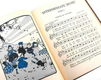 1924 Intermediate Music Book Antique Art Nouveau Children's Literature Baby Nursery Child's Room Decor Katherine Healey Illustrated Songbook