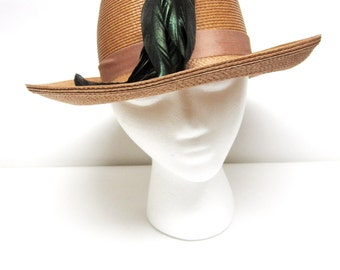 Wide Brimmed Hat Feathers Sandra New York Natural Fiber