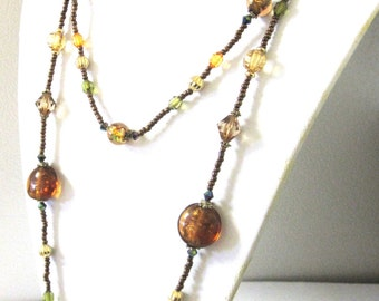 Green Copper Gold Necklace Fall Fashion 2 Tier Necklace Brown