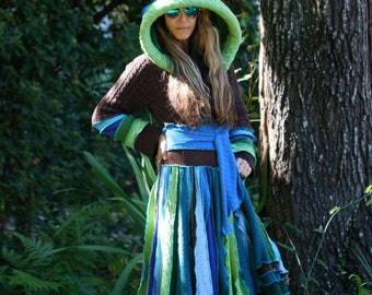 Super Ubber Awesome Custom Kaleidoscope gypsy  faery  patchwork  upcycled  recycled sweater coat