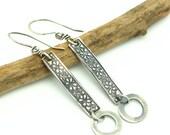Silver Dangle Earrings Rustic Metal Work Jewelry Sterling Silver Modern Geometric Rectangle Earrings Gifts For Her