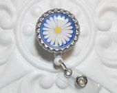 Retractable Badge Holder - Cute Badge Holder - Badge Lanyard - Badge Reel - Nurse Badge Holder -Blue Daisy