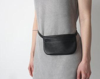 Belt Bag Black Leather, Flat Bum Bag, Hip Bag, Fanny Pack, Festival Bag,
