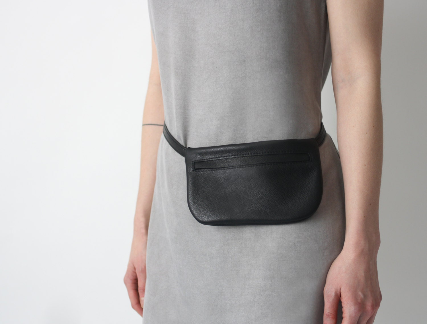 Belt Bag Black Leather Flat Bum Bag Hip Bag Fanny Pack