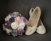 Purple bridal bouquet DEPOSIT custom wedding bouquet fabric flower bridal bouquet