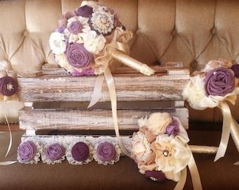Wedding bouquet set , matching men buttonholes, bridal bouquet, bridesmaids bouquets, purple bouquet DEPOSIT