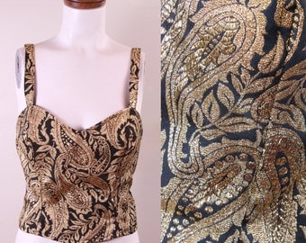 Vintage - 90s - Metallic Gold & Black - Woven - Paisley Brocade - Sweatheart - Cami - Spaghetti Strap - Tank Top - Semi Formal - Large