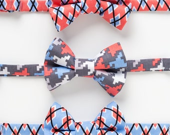 Baby Bow Ties - Coral and Blue - Little Boy Bow Ties