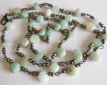 Aqua Marine on Silver Necklace 690