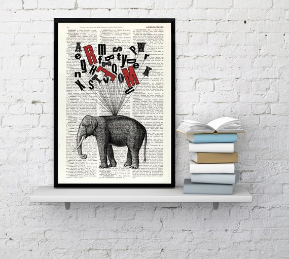Spring Sale Elephant print- giclee poster print Elephant Alphabet collage wall decor print gift for her Elephant Nursery art BPAN097