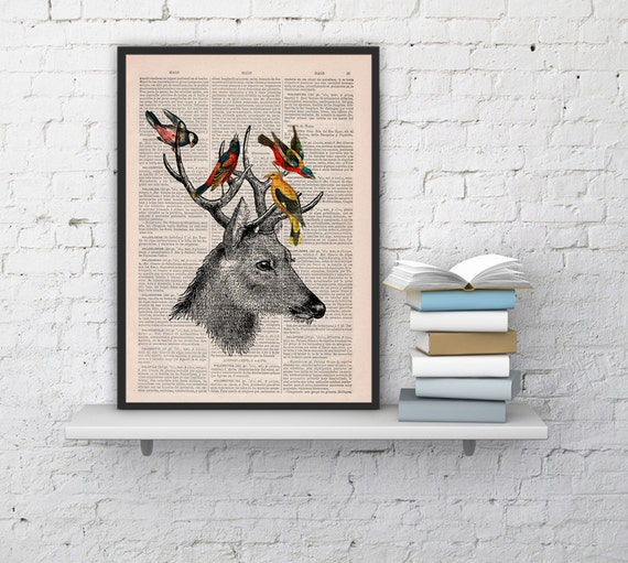 Spring Sale Deer Print & Birds Art Giclee Print Illustration book Animal Wall Decor hanging Wall Art Deer Deer head birds BPAN040