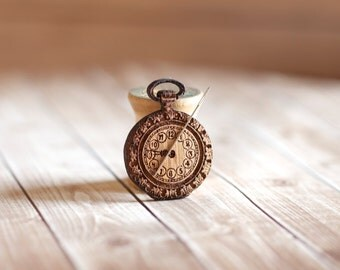 Pocket Watch Needle Minder : wooden wood cross stitch tool holder keeper organization time travel geekery Steampunk Victorian