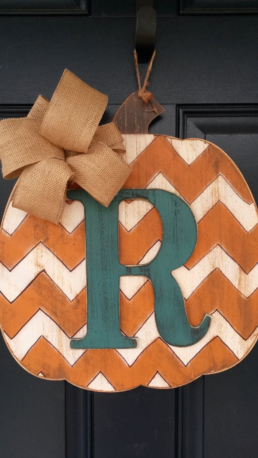 Fall door decor wood pumpkin by