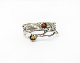 Silver ring. Crystal ring. Sterling silver ring. Organic lava ring. Branch ring. Crystal jewelry, gift for her. (sr-9906-1296-1547)