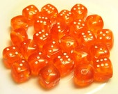 7mm Orange Dice Beads Semi-Transparent Mixed Lot 25pcs