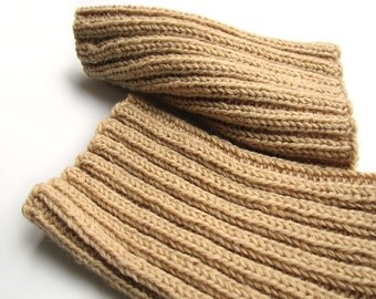 Handmade Ribbing Knit Boot Cuffs - Bulky Boot Toppers, Leg Warmers - 100% Natural Wool Yarn - Wheat Color