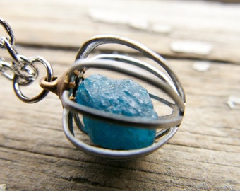 Blue Apatite Necklace Jewelry Raw Stone Crystal Gemstone Birthstone Chakra metal cage Pendant Gift For Her Rough Mineral Mother's Day