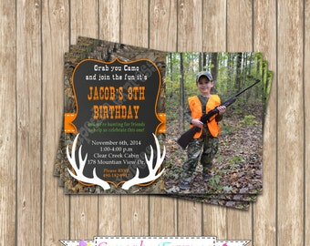 Camo Boy Hunting deer Photo Invitation #3 Birthday Party  PRINTABLE Invitation 5x7  camouflage orange realtree chalkboard