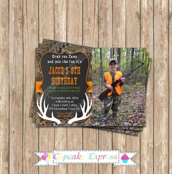 Camo Boy Hunting deer Photo Invitation 3 Birthday Party – Hunting Party Invitations