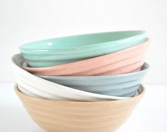 Ribbed ceramic bowl