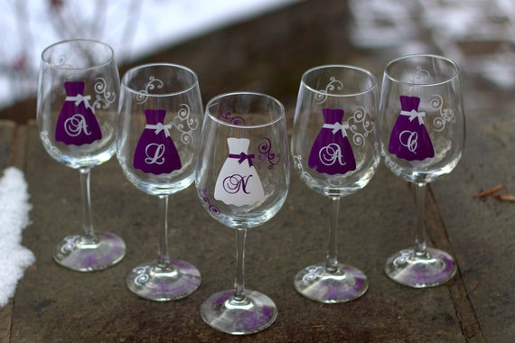 4 Bridesmaid wine glasses, personalized dress wine glass with monogram for wedding, maid of honor gift.  Plum and white wedding idea. Purple