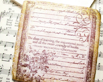 Book Club Coasters - The Love of Learning by Henry Wadsworth Longfellow Coaster Set of 4 Book Clubs, Reading Clubs, Book Lovers, Bookworms