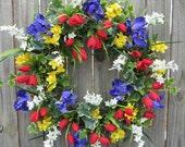 Spring Door Wreath - Spring Door Wreath, Tulip Wreath, Spring Bulb, Colorful Wreath, Etsy Wreath, HornsHandmade, Tulip, Iris, Narcissus