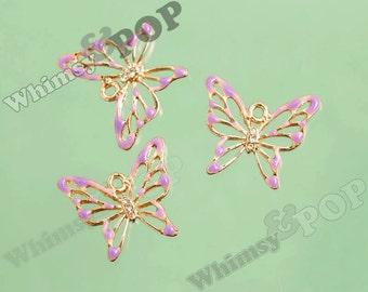 1 - Gold Tone Purple Butterfly Glass Crystal Rhinestone Charm Pendant, Butterfly Charm, 30mm x 27mm (5-2J)