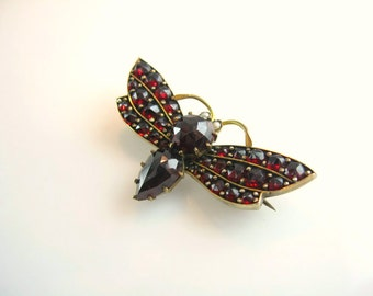Bohemian Garnet Jewelry. Antique 1880s Victorian Brooch. Insect Moth Butterfly Figural Pin. Pearl Eyes. Garnet Jewelry.