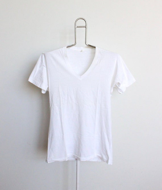 Soft Thin White Plain V Neck T Shirt Mens By Beachwolfvintage