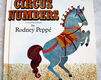 Circus Numbers 60s Mid Century Children's Counting Book by Rodney Peppé Vintage Illustration Circus Animals and Numbers Great Condition