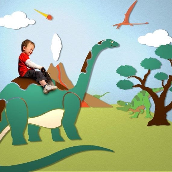 Dinosaur wall mural stencil kit for baby or kids by for Dinosaur wall mural uk