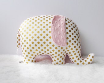 Metallic gold nursery decor, Elephant Pillow, girl nursery, metallic gold and light pink, gold and pink, made to order