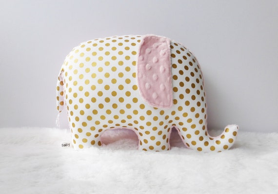 Metallic gold nursery decor, Elephant Pillow, metallic gold and light pink, gold and pink