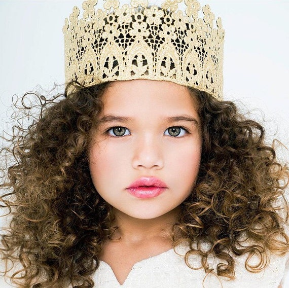 Lace Crown || Ready to Ship || Florabella|| tall sparkling gold crown FULL SIZE|| floral flowers photography prop|| Child-Adult custom sizes