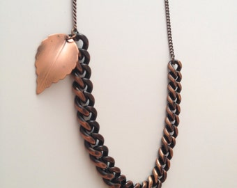 Copper Chain and Leaf Necklace
