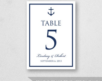 Table Number Template Printable - INSTANT DOWNLOAD - For Word and Pages - Mac and PC - Anchor - 5 x 7 inches