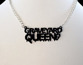 Graveyard Queen Necklace with Coffin (laser cut acrylic)