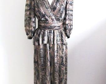 1980s Evening Dress, Black and Gold Designer I. Magnin