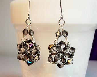 Smoky Crystal Chandelier Drop Earrings, Christmas Gift, Mom Sister Grandmother Girlfriend Bridesmaid Jewelry Gift, Classy